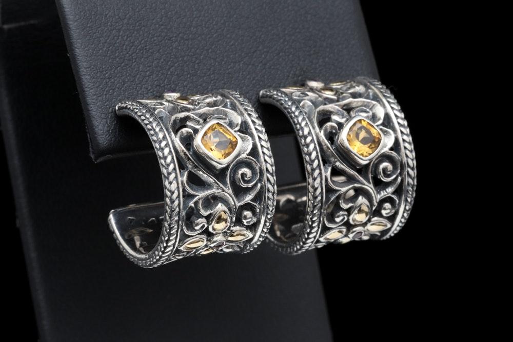 Sterling Silver, 18K Yellow Gold Citrine and Rhodolite Open Hoop Earrings