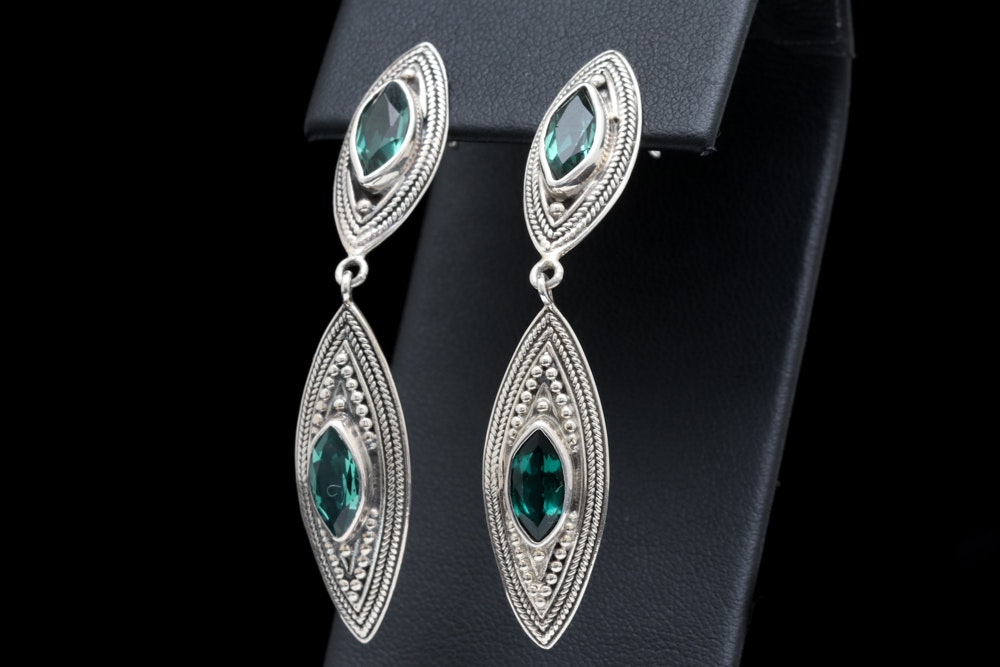 Sterling Silver and Green Quartz Dangle Earrings