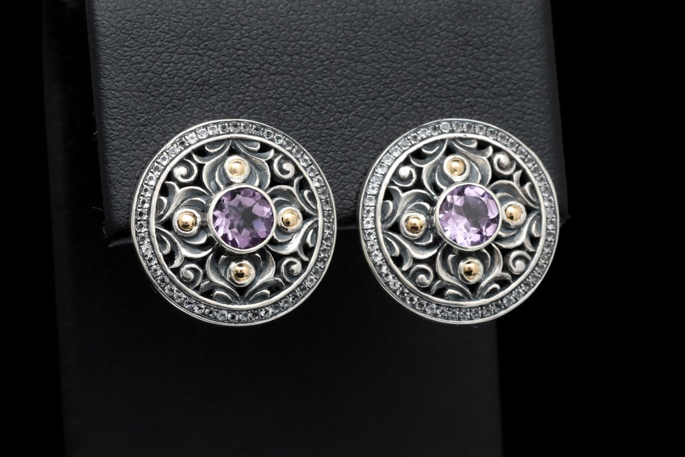 Sterling Silver, Amethyst and White Topaz Earrings