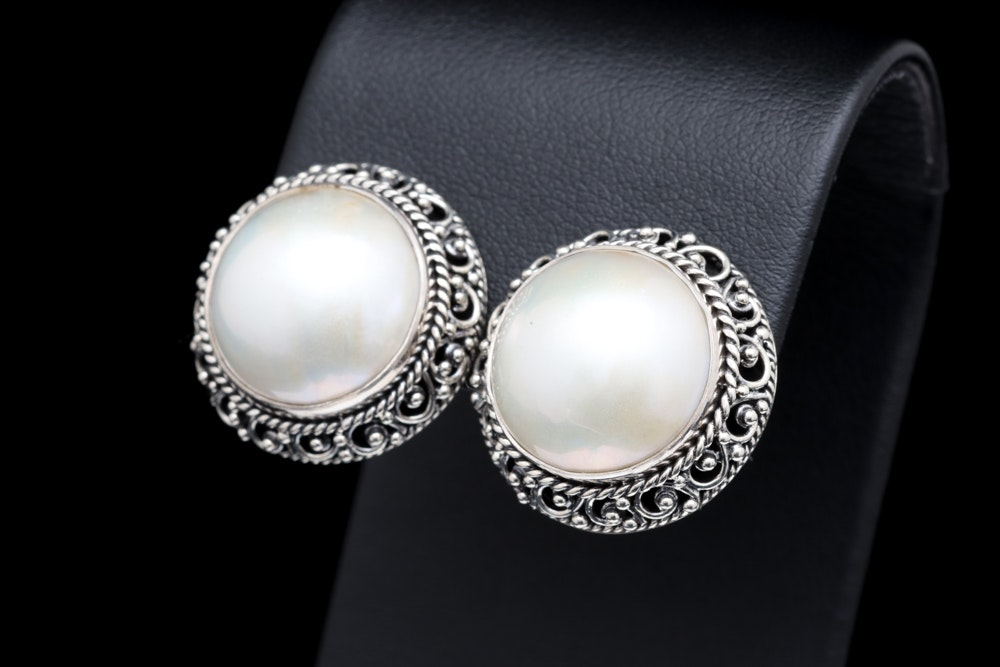 Sterling Silver and Mabé Pearl Earrings
