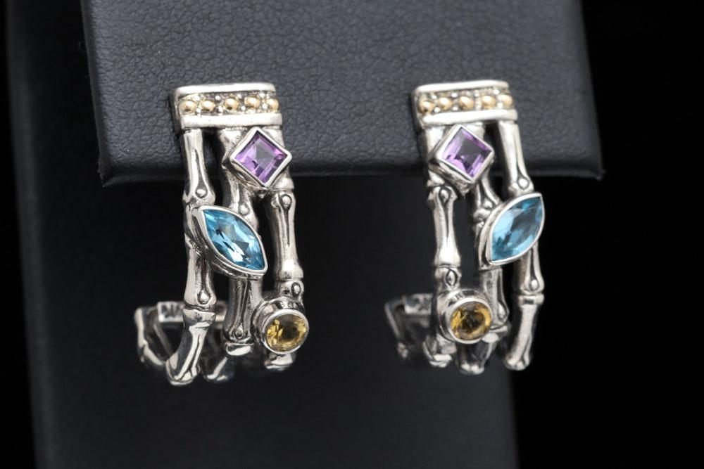 Sterling Silver, 18K Yellow Gold and Multi-Gemstone J-Hoop Earrings