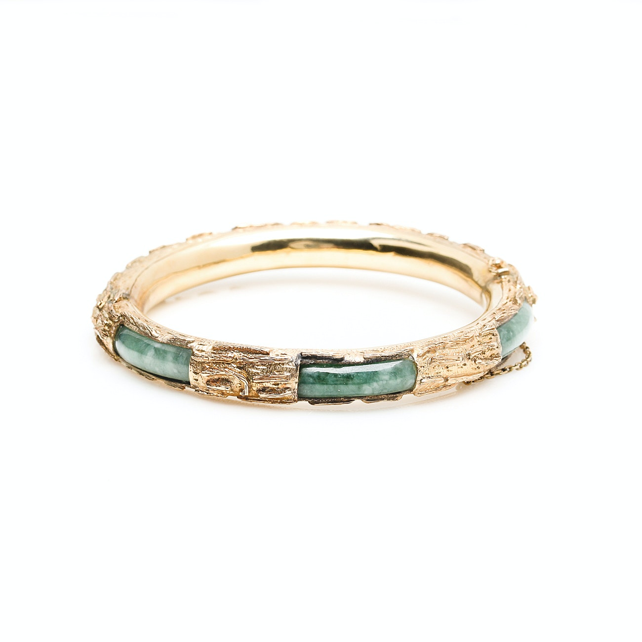 14K Yellow Gold Jadeite Hinged Bangle Bracelet With 10K Yellow Gold Finding