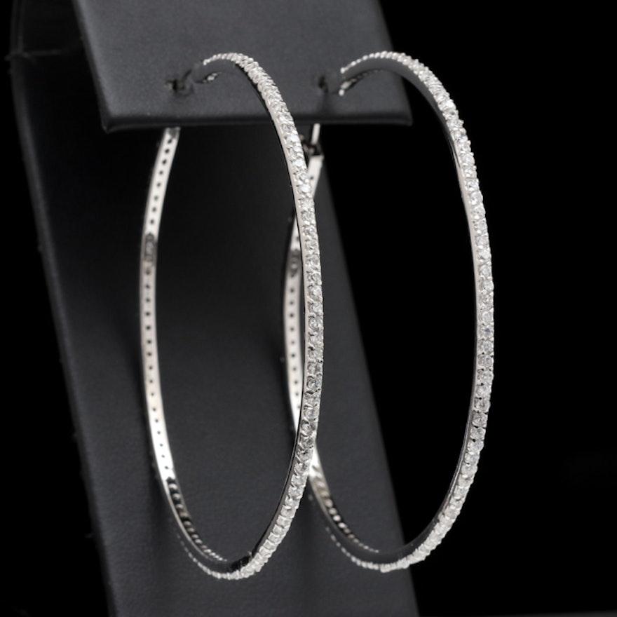 Sterling Silver And Cubic Zirconia Large Hoop Earrings