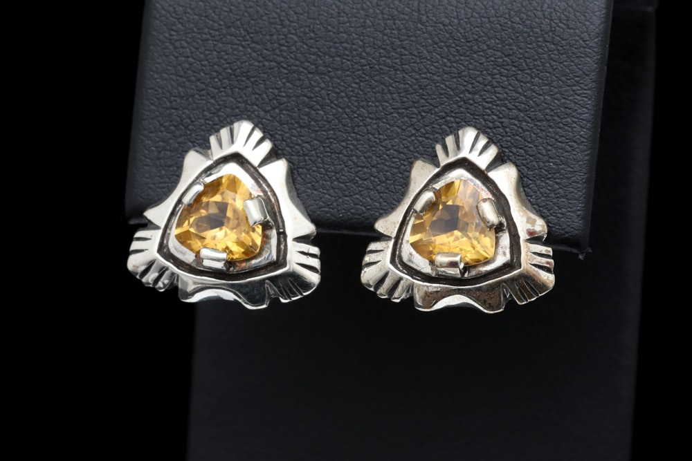 Sterling Silver and Citrine Earrings