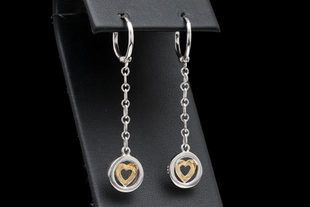 Two-Tone Sterling Silver Dangle Heart Earrings