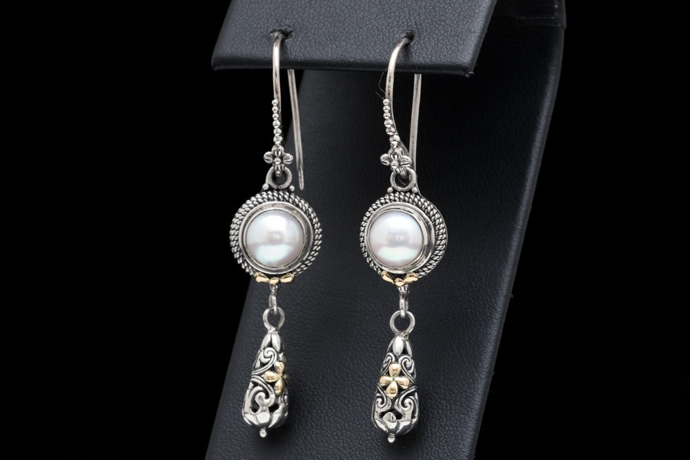 Sterling Silver, 18K Yellow Gold and Pearl Dangle Earrings
