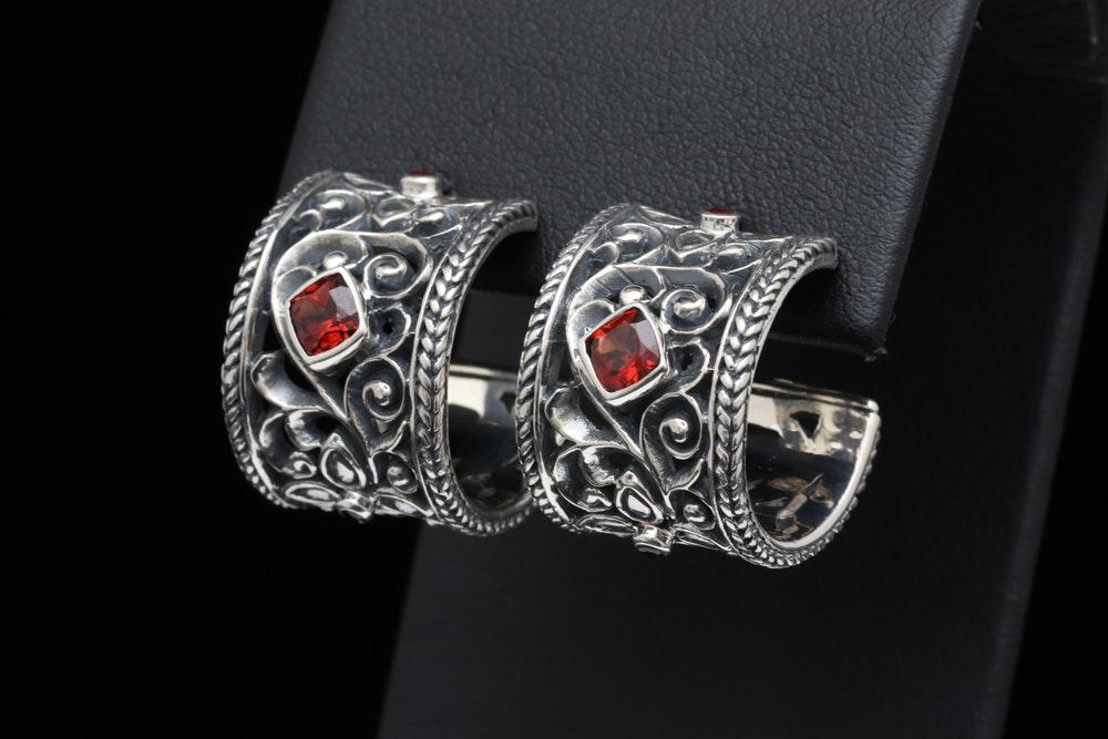 Sterling Silver and Garnet Hoop Earrings