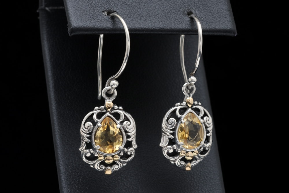 Robert Manse Sterling Silver, 18K Yellow Gold and Citrine Dangle Earrings