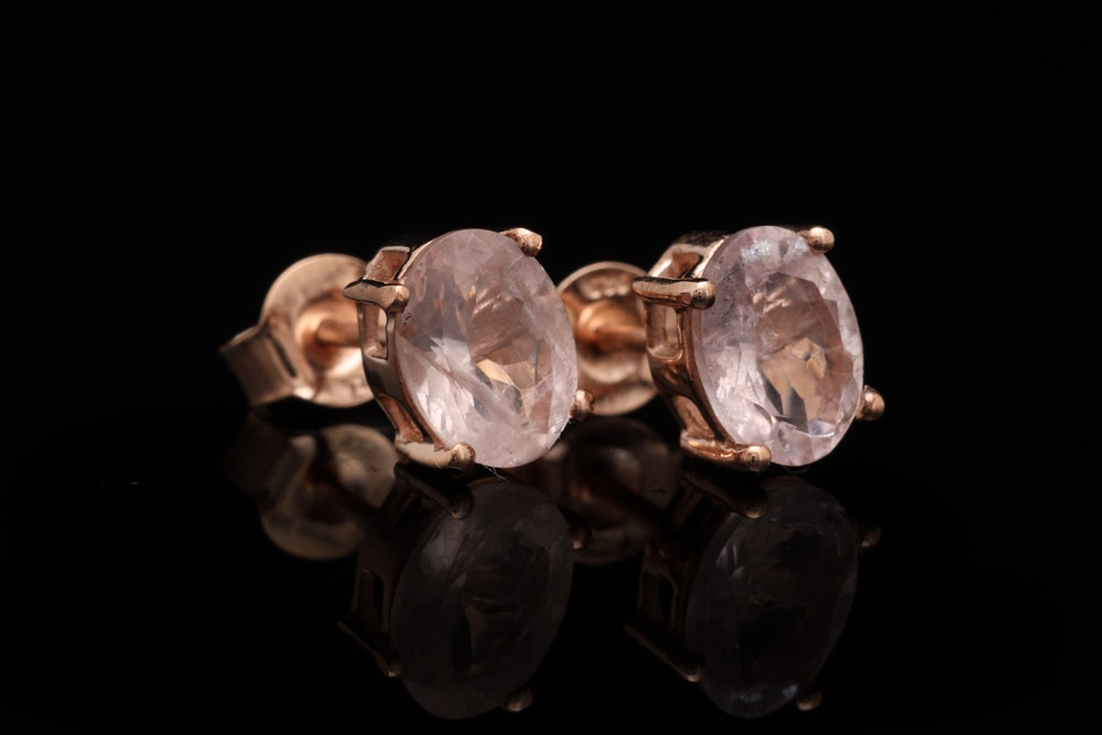 Rose Gold Wash on Sterling Silver and Morganite Stud Earrings