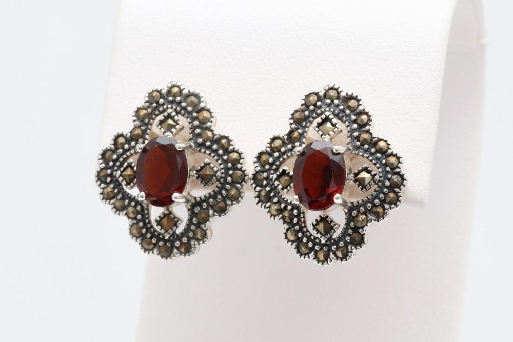 Sterling Silver, Garnet and Marcasite Earrings