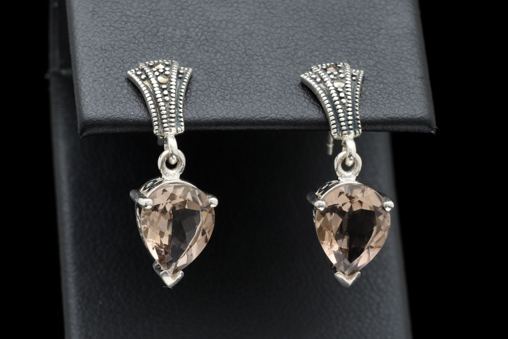 Sterling Silver, Smoky Quartz and Marcasite Dangle Earrings