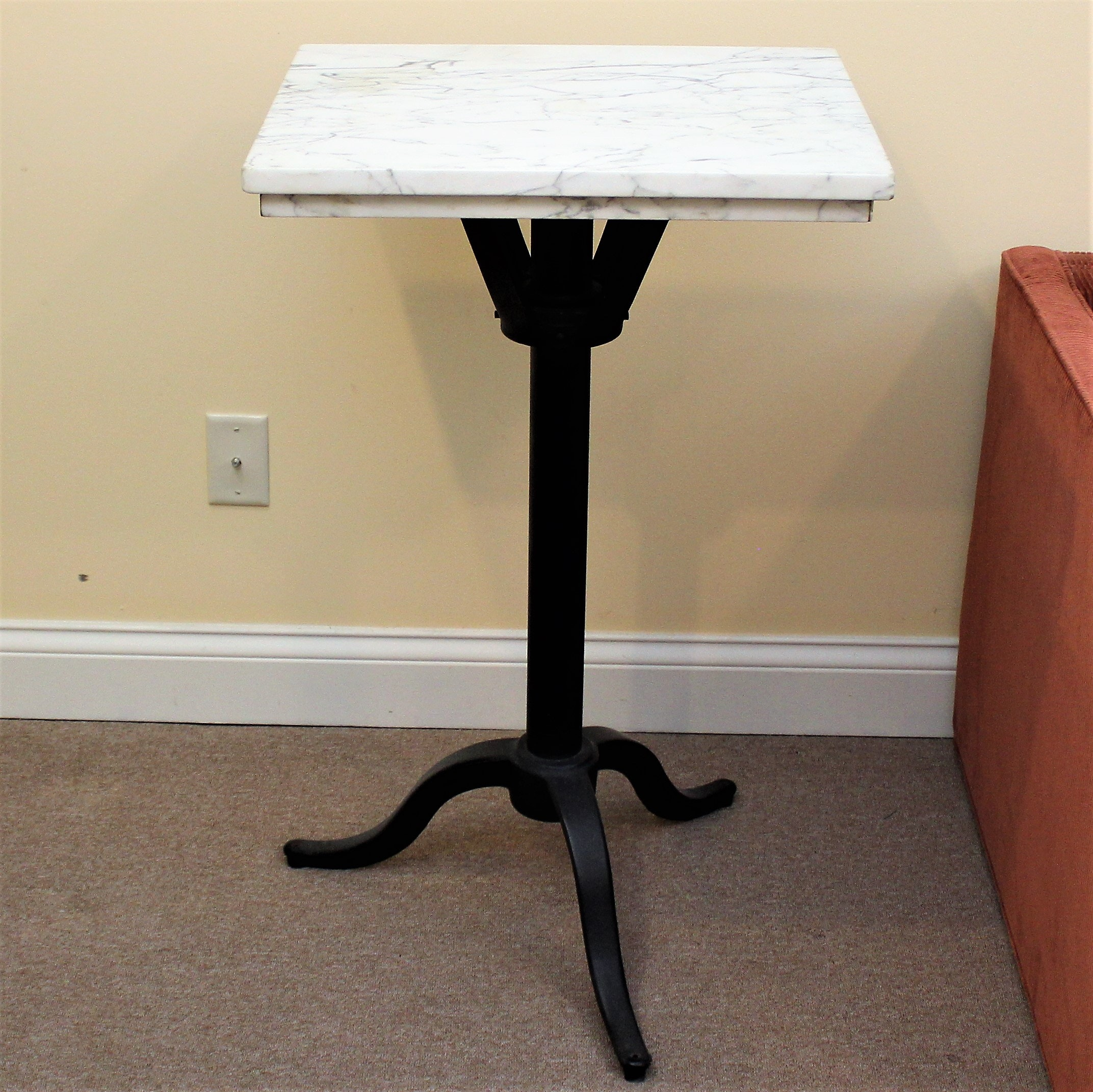 Vintage Marble Top Cast Iron Accent Table