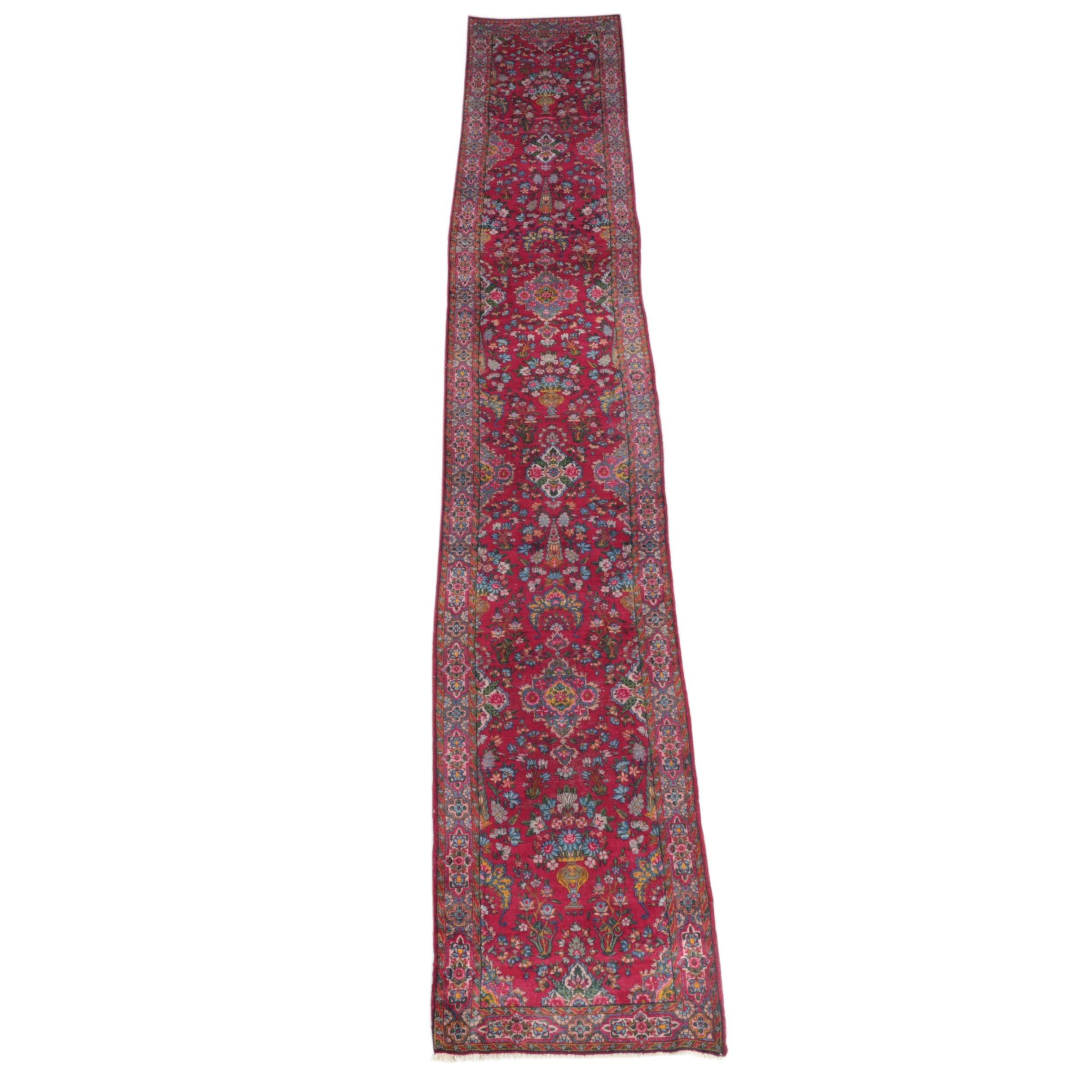 Hand-Knotted Persian Kerman Carpet Runner
