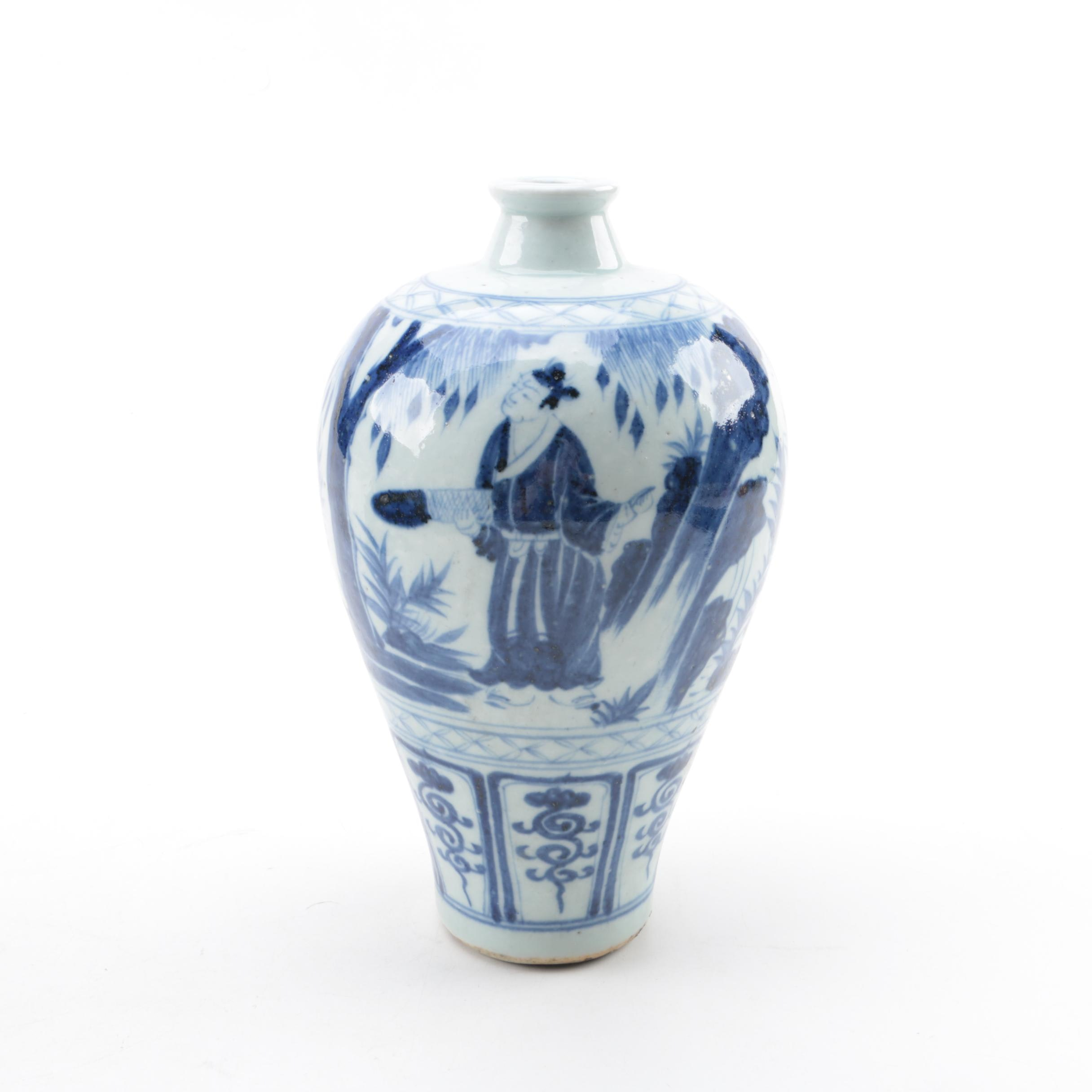 Chinese Blue and White Ceramic Meiping Vase