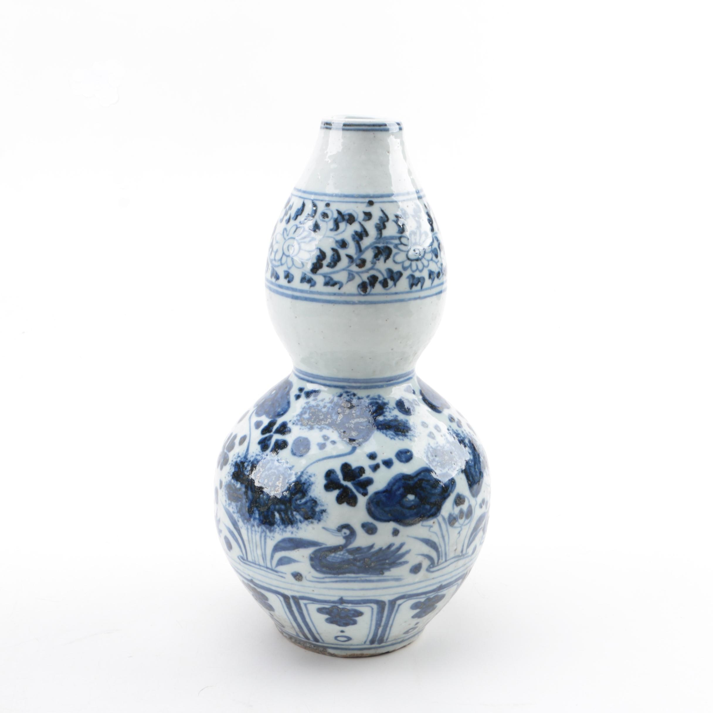 Chinese Blue and White Double-Gourd Ceramic Vase