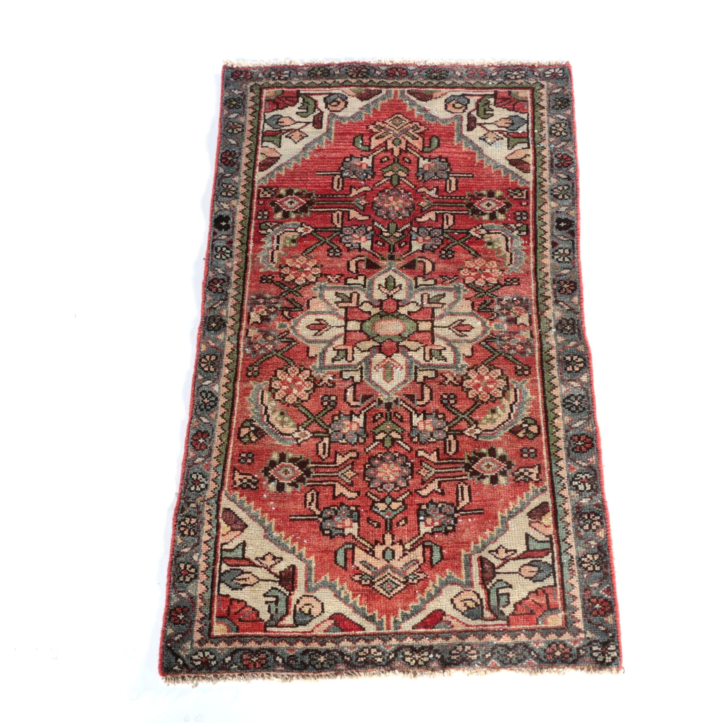 Vintage Hand-Knotted Persian Malayer Wool Accent Rug