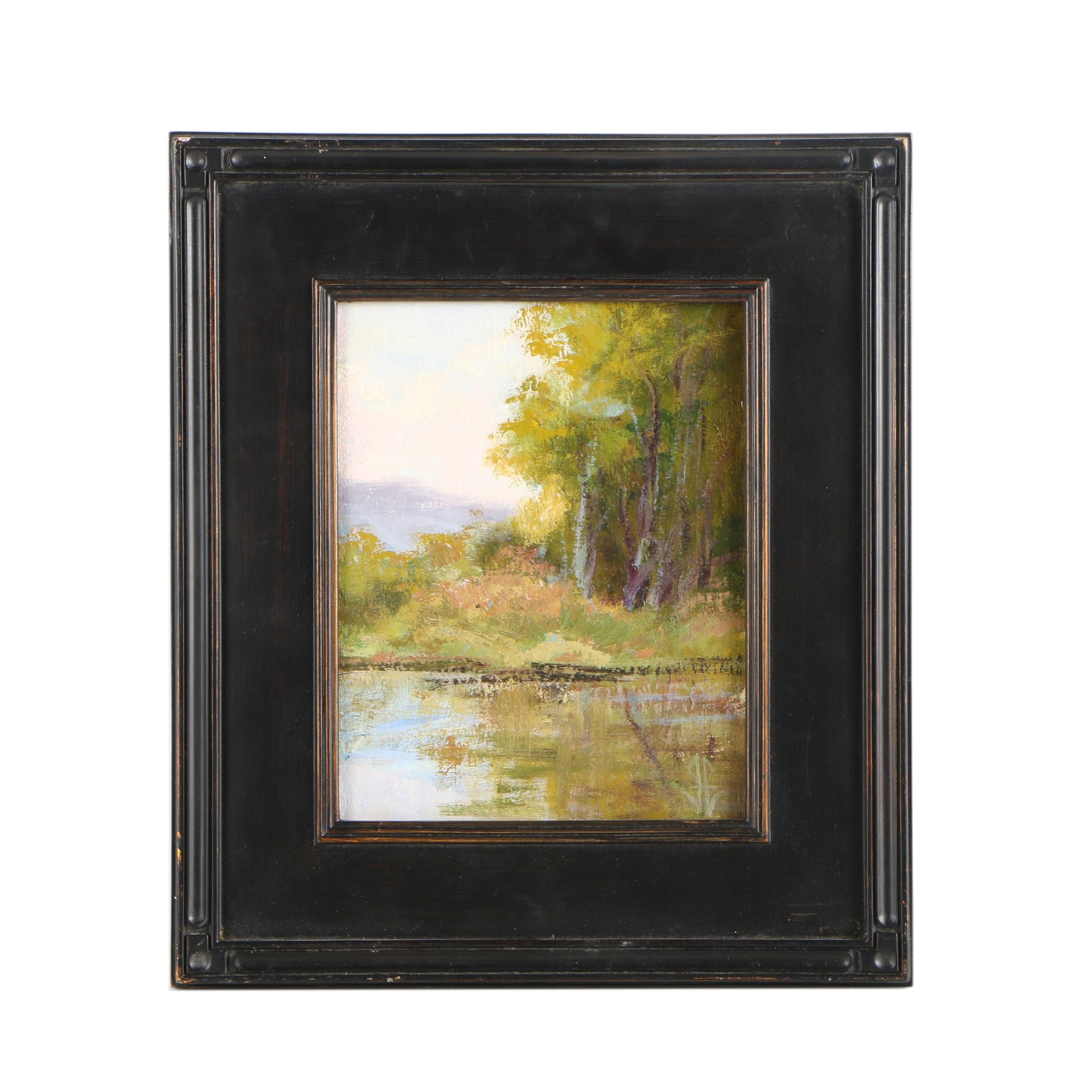 "John Passaro Oil Painting ""Lake at Hudson Gardens I"""