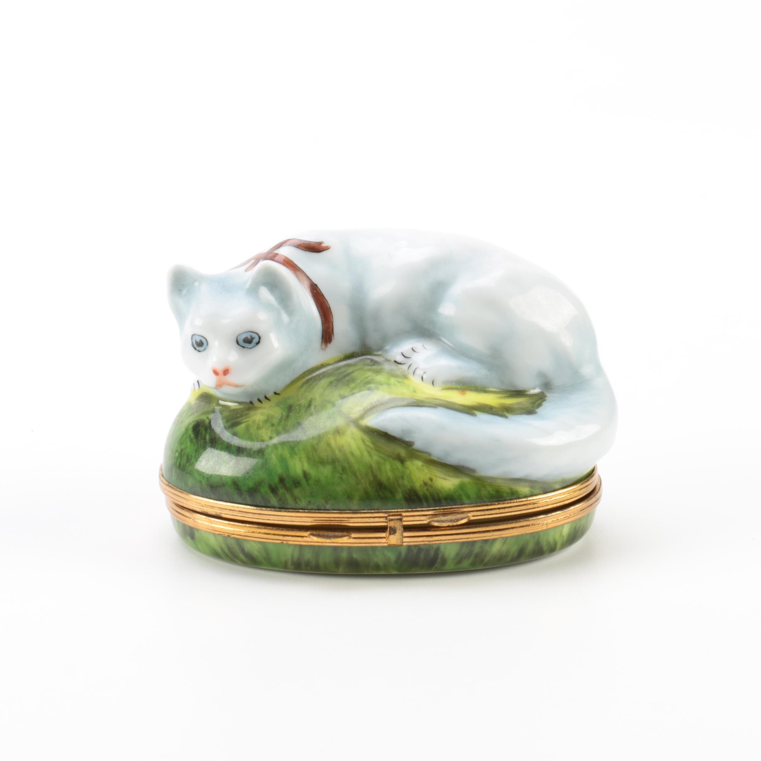 Chamart Limoges Cat Themed Porcelain Trinket Box