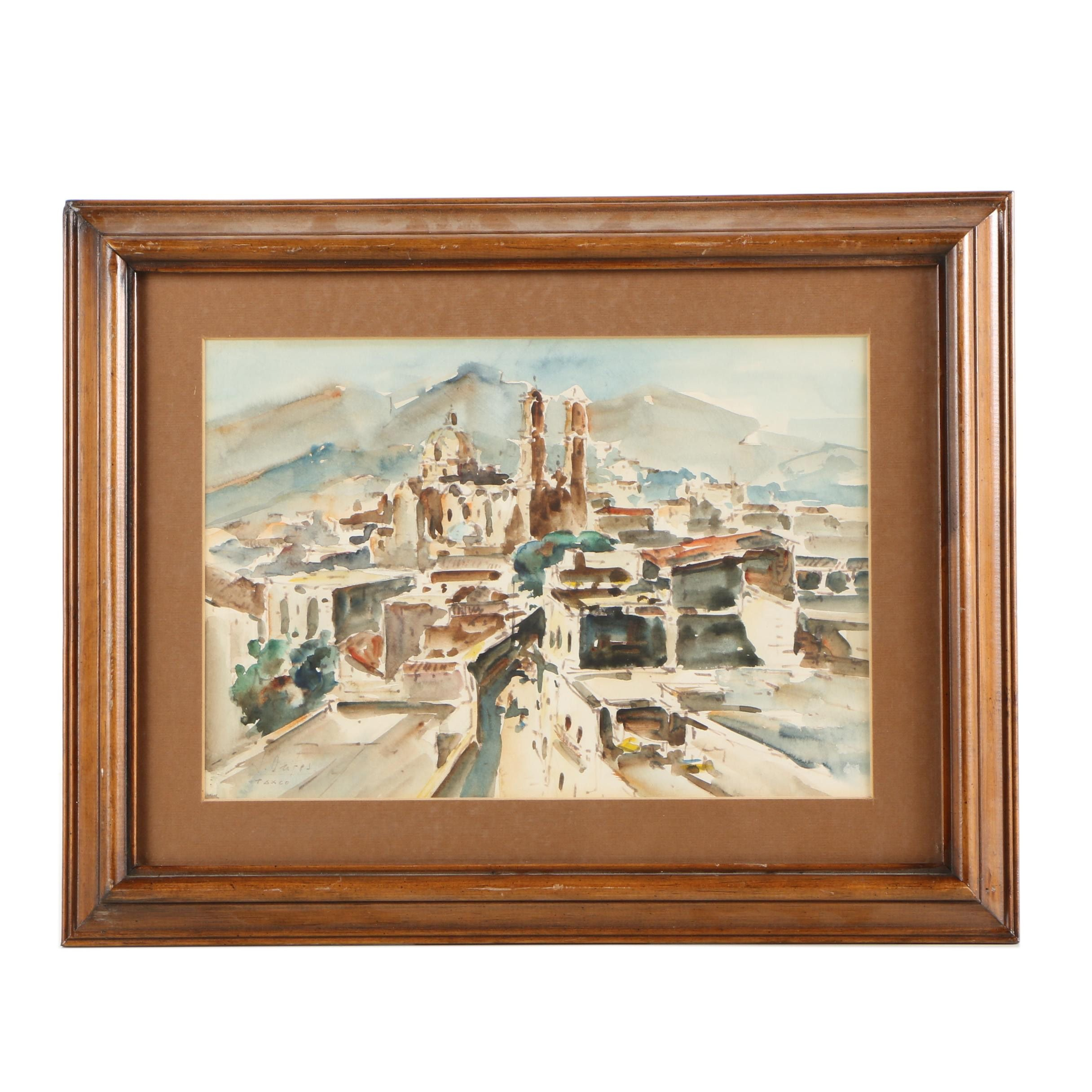 Jaime Oates Watercolor Painting of Taxco, Mexico