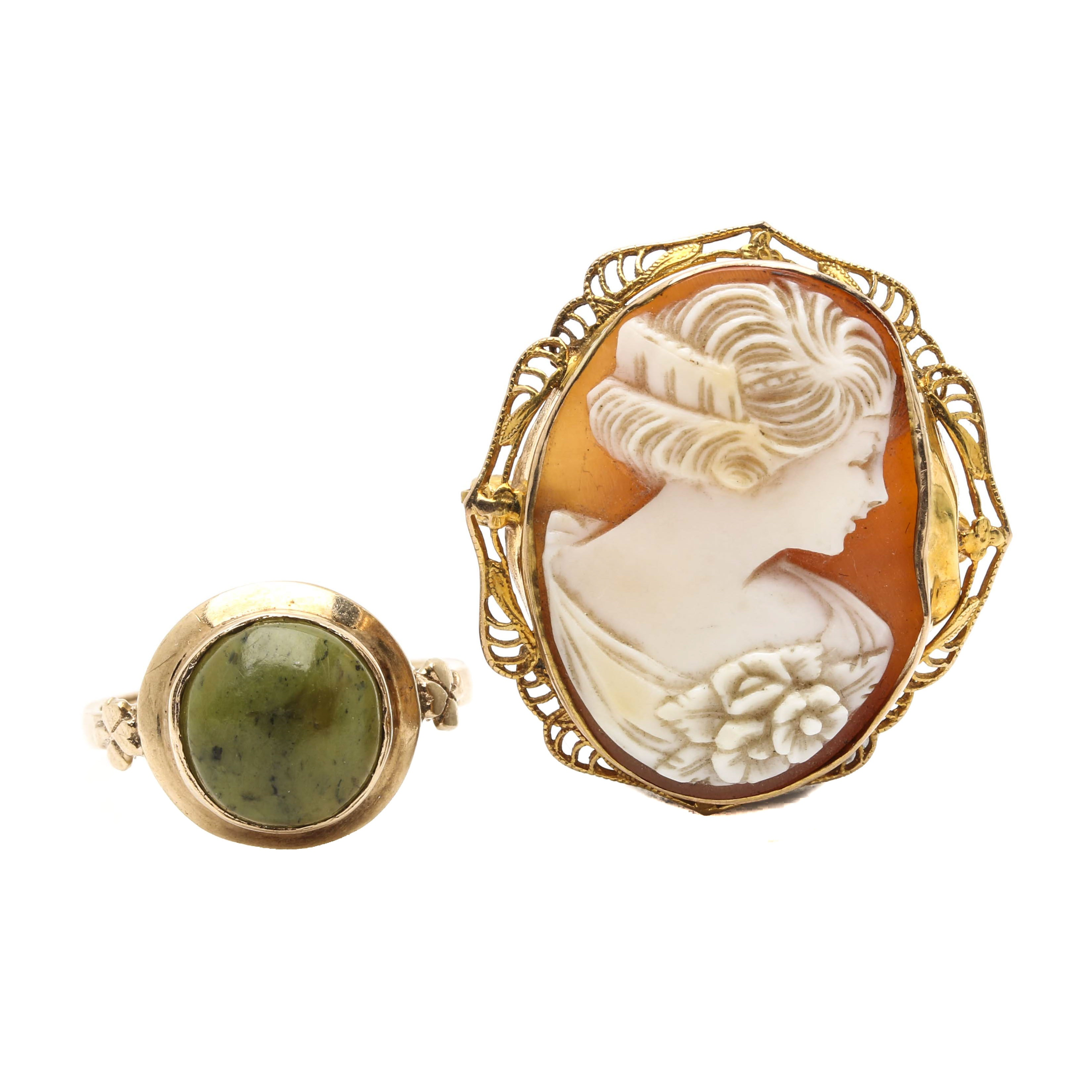 Selection of 9K and 10K Yellow Gold Serpentine Ring and Cameo Brooch
