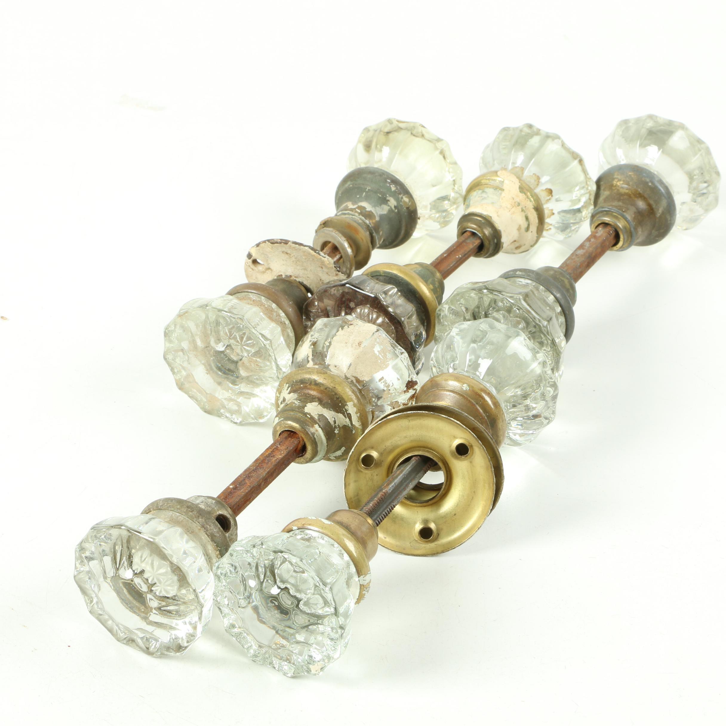 Sets of Glass Doorknobs