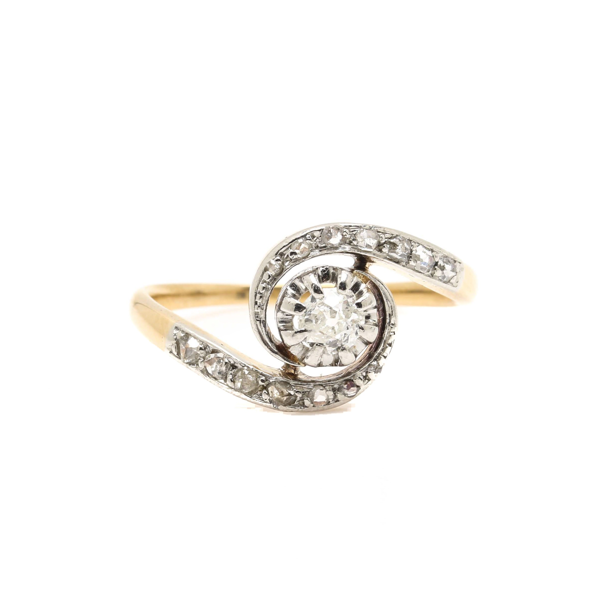 Platinum and 18K Yellow Gold Diamond Bypass Ring