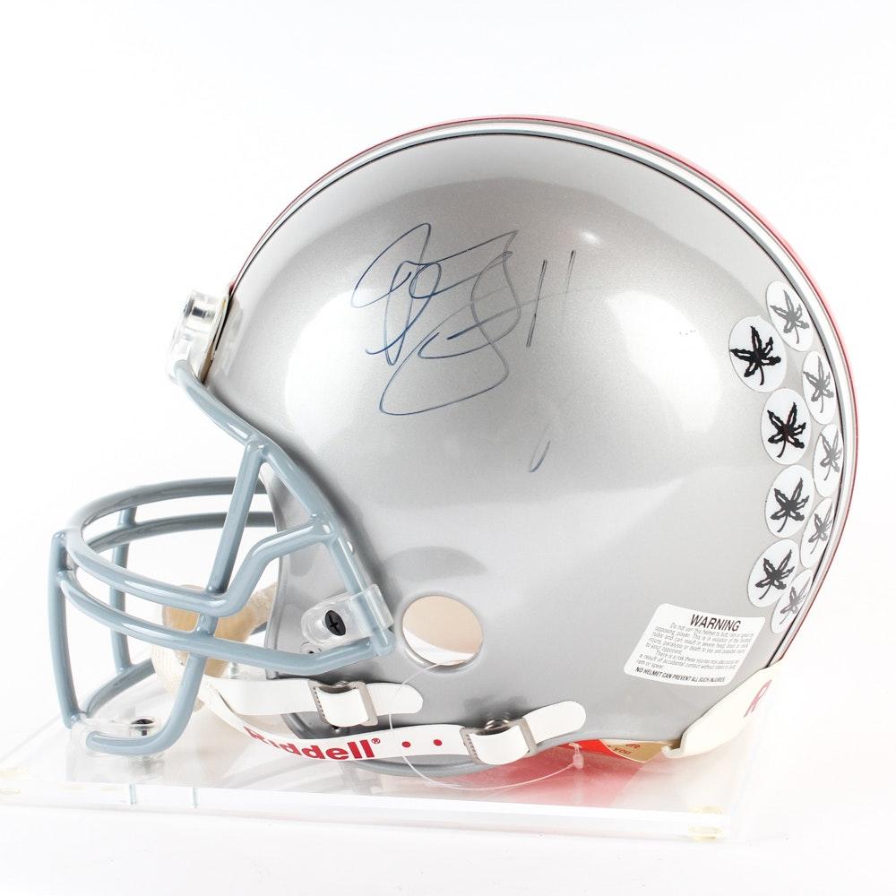Autographed Ohio State Buckeyes Football Helmet on Display Stand