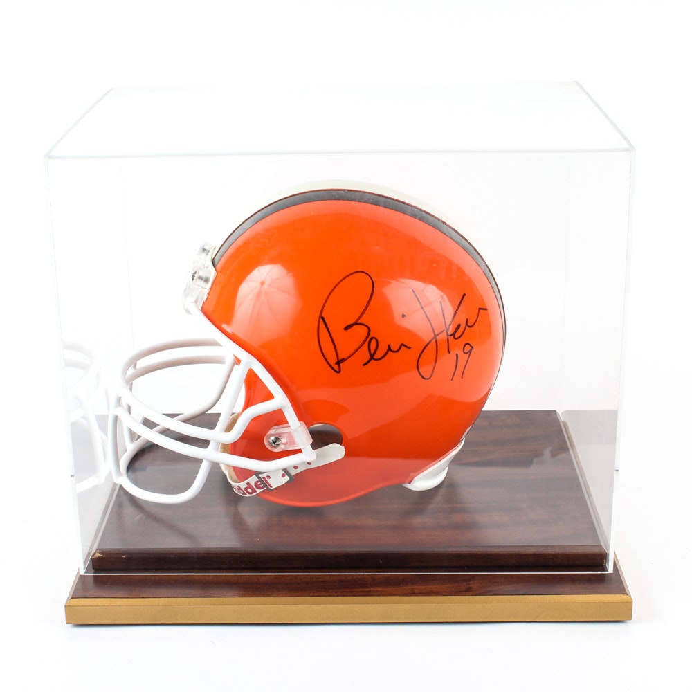 Bernie Kosar Autographed Cleveland Browns Helmet in Display Case