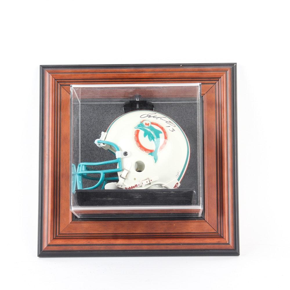 Dan Marino Autographed Miami Dolphins Mini Helmet in Display Mount