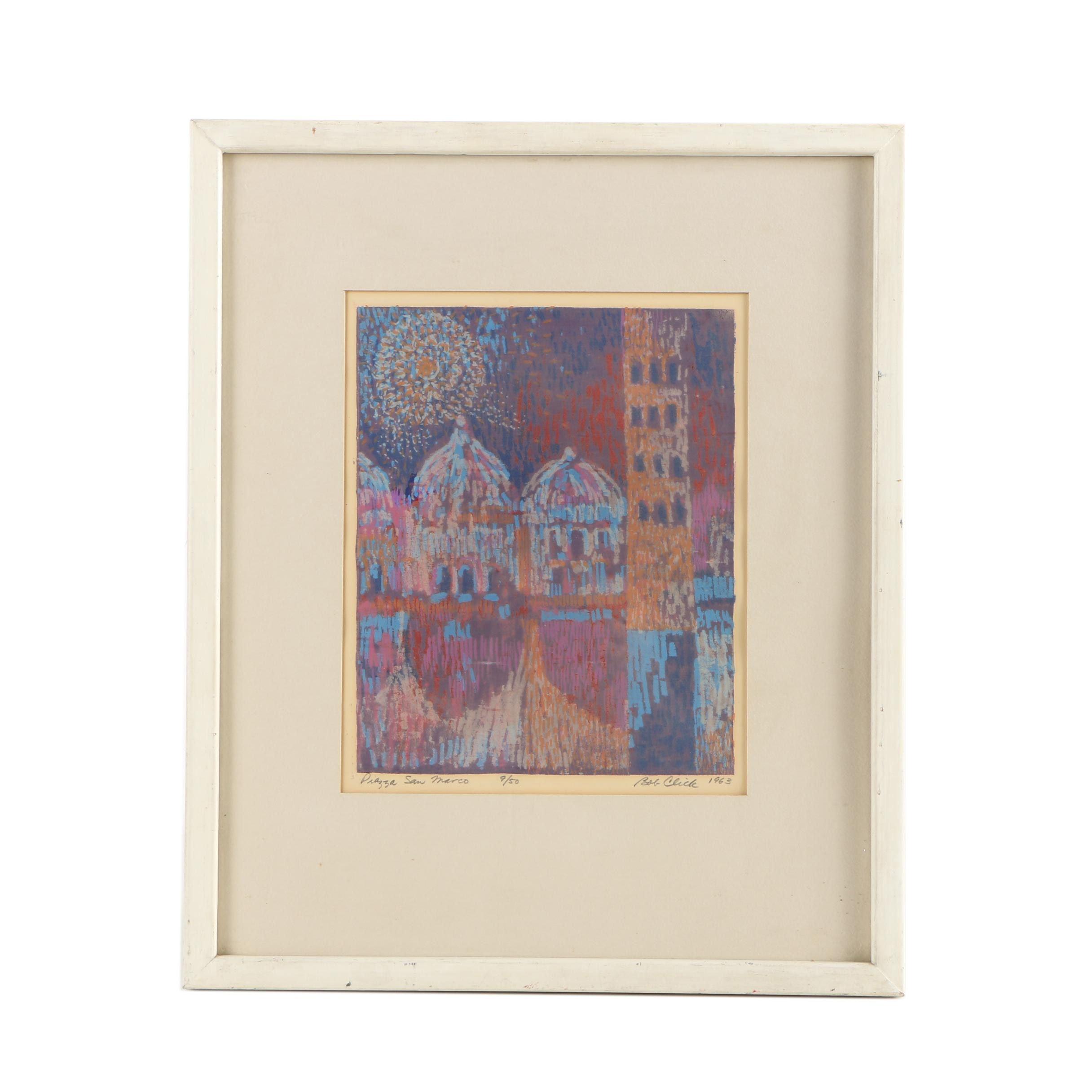 """Bob Click Serigraph """"Piazza San Marco"""""""