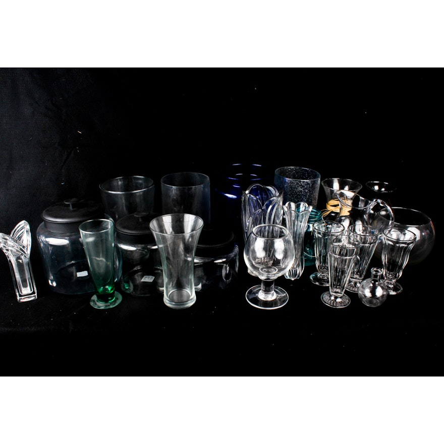 Simon Pearce Lenox And Assorted Glass Vases And Jars Ebth