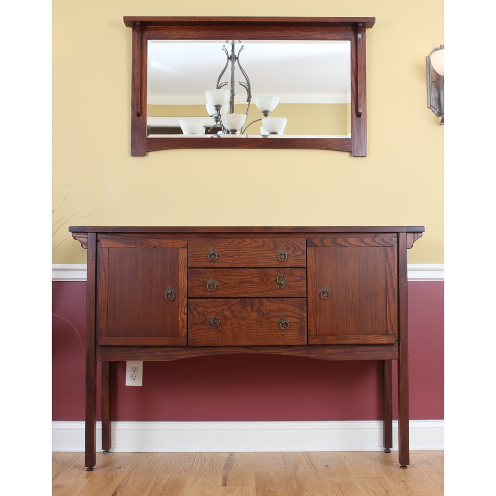 Arts and Crafts Style Oak Sideboard with Mirror