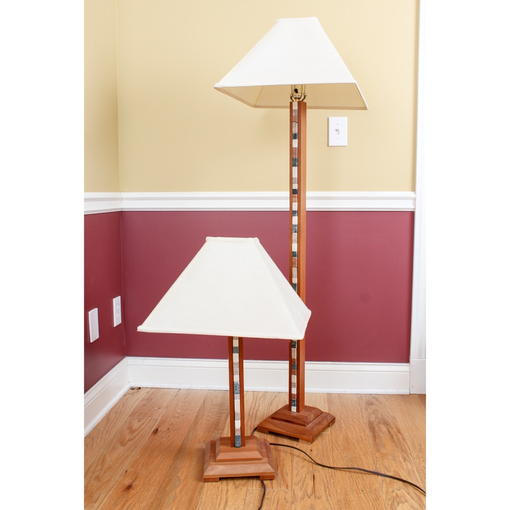 Wood and Tile Floor Lamp and Matching Table Lamp