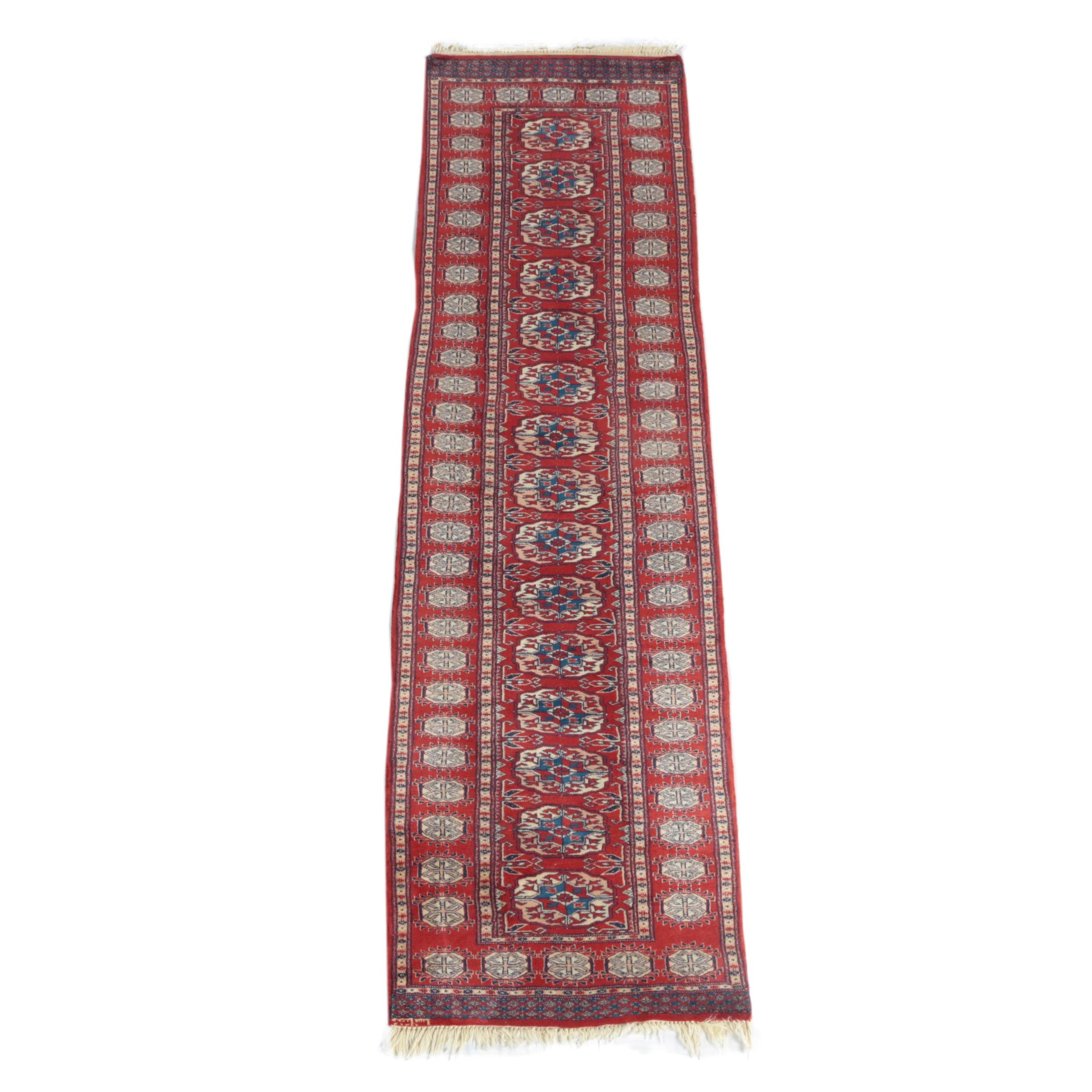 Hand-Knotted Signed Bokhara Wool Carpet Runner