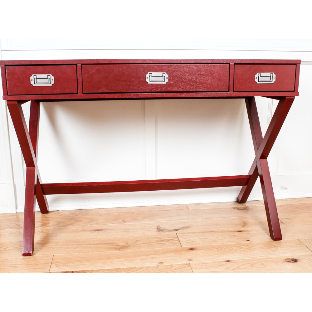 Contemporary Red Campaign Style Writing Desk