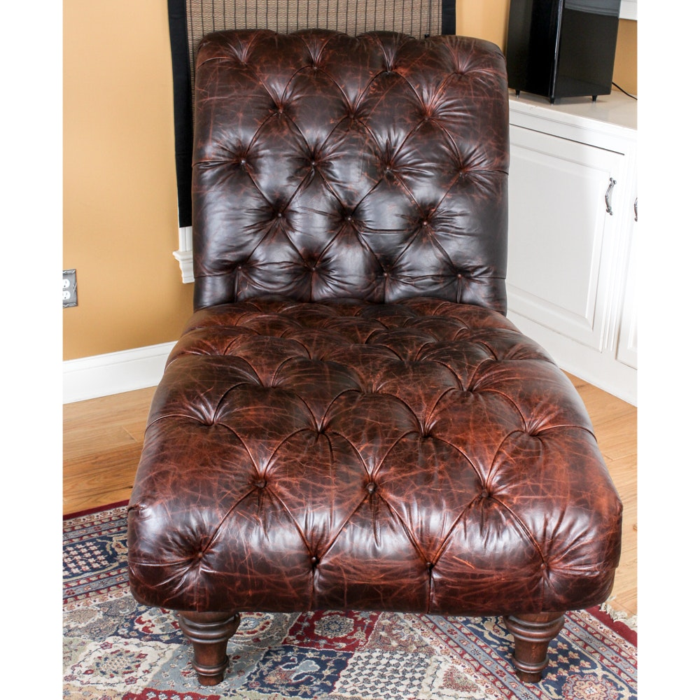 Tufted Leather Oversize Chaise Lounge