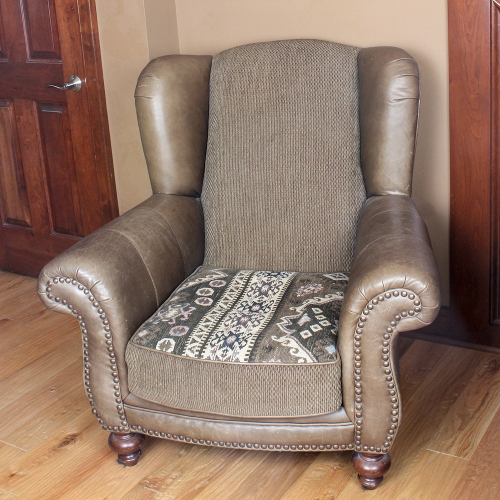 Klaussner Leather and Cloth Wing Back Chair