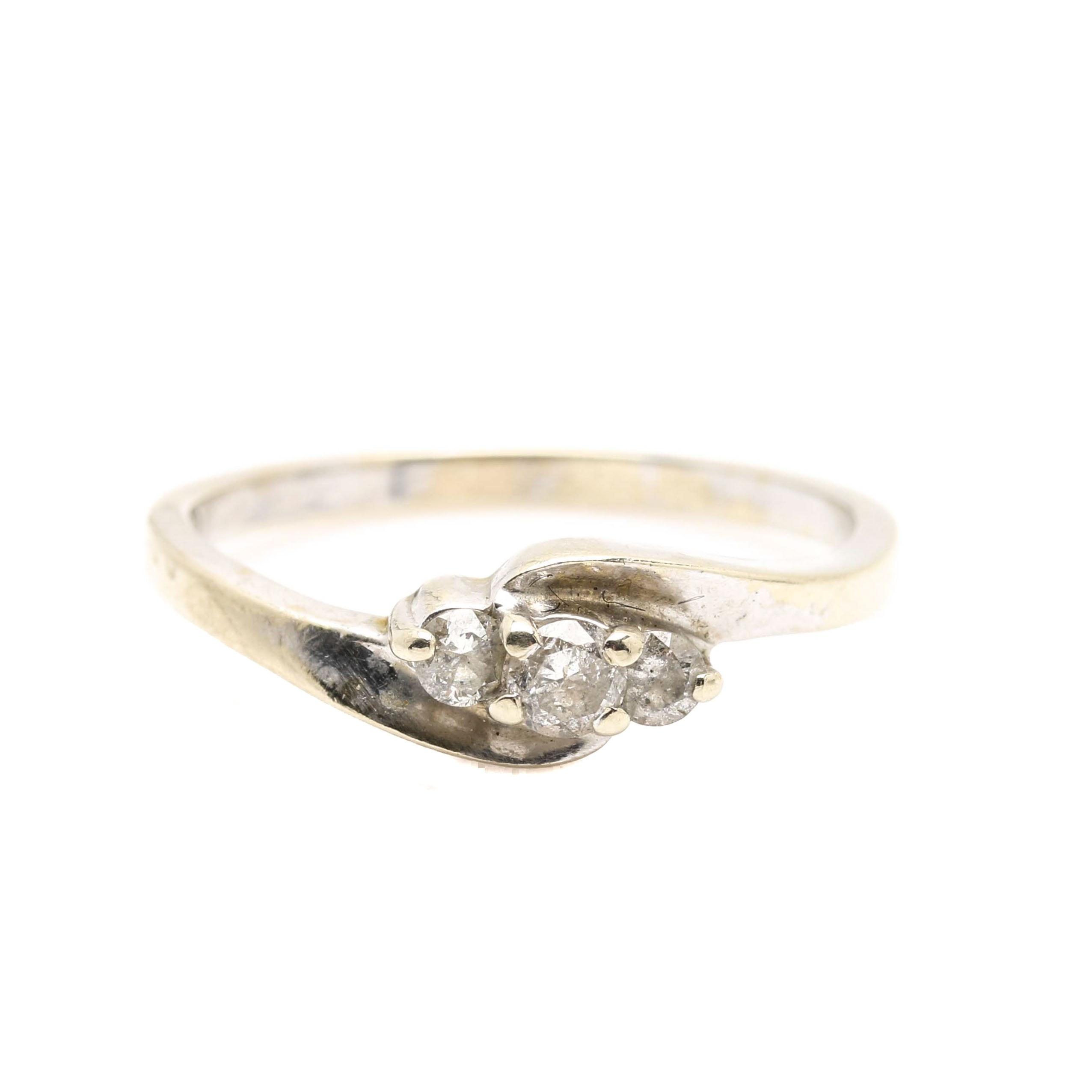 14K White Gold Diamond Three Stone Bypass Ring