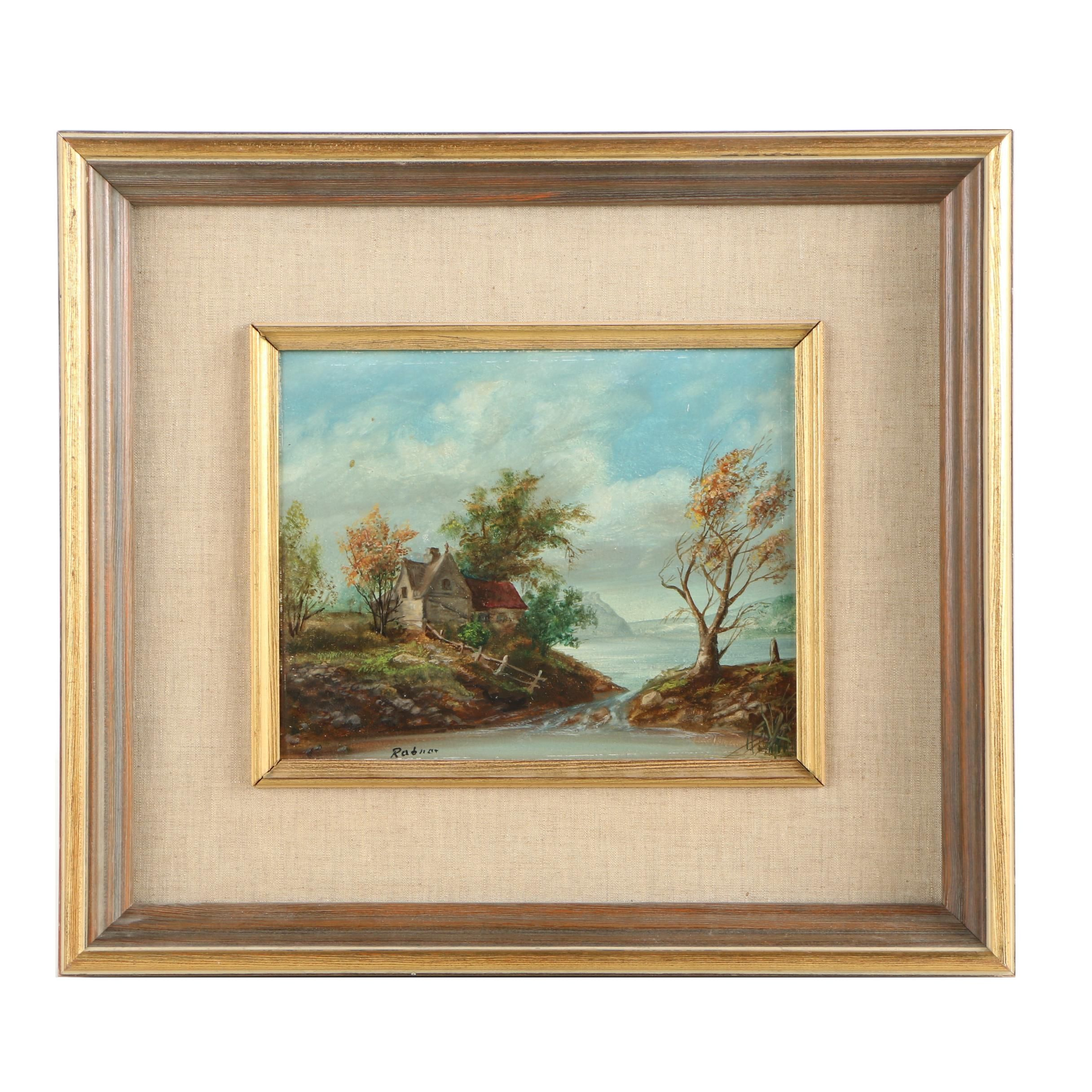 Rabner Oil Painting of a Waterfront Landscape