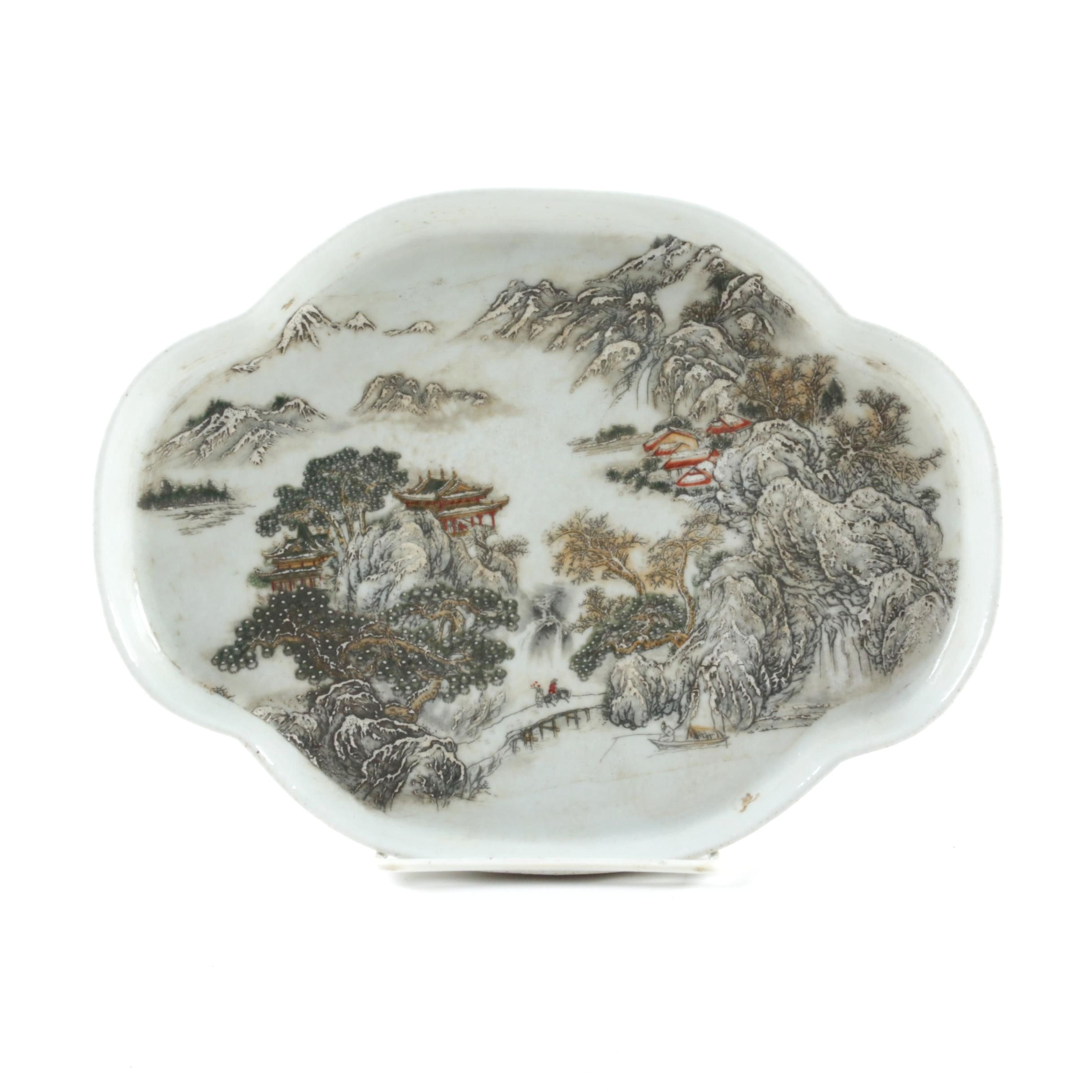 Chinese Landscape Porcelain Tray