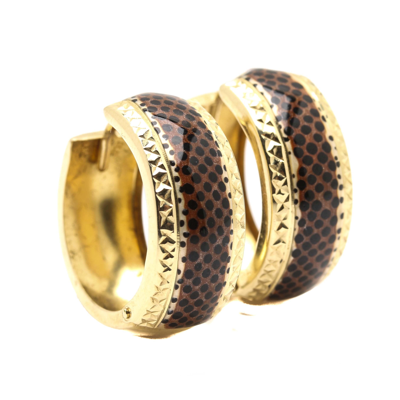 14K Yellow Gold Acrylic Enamel Hoop Earrings