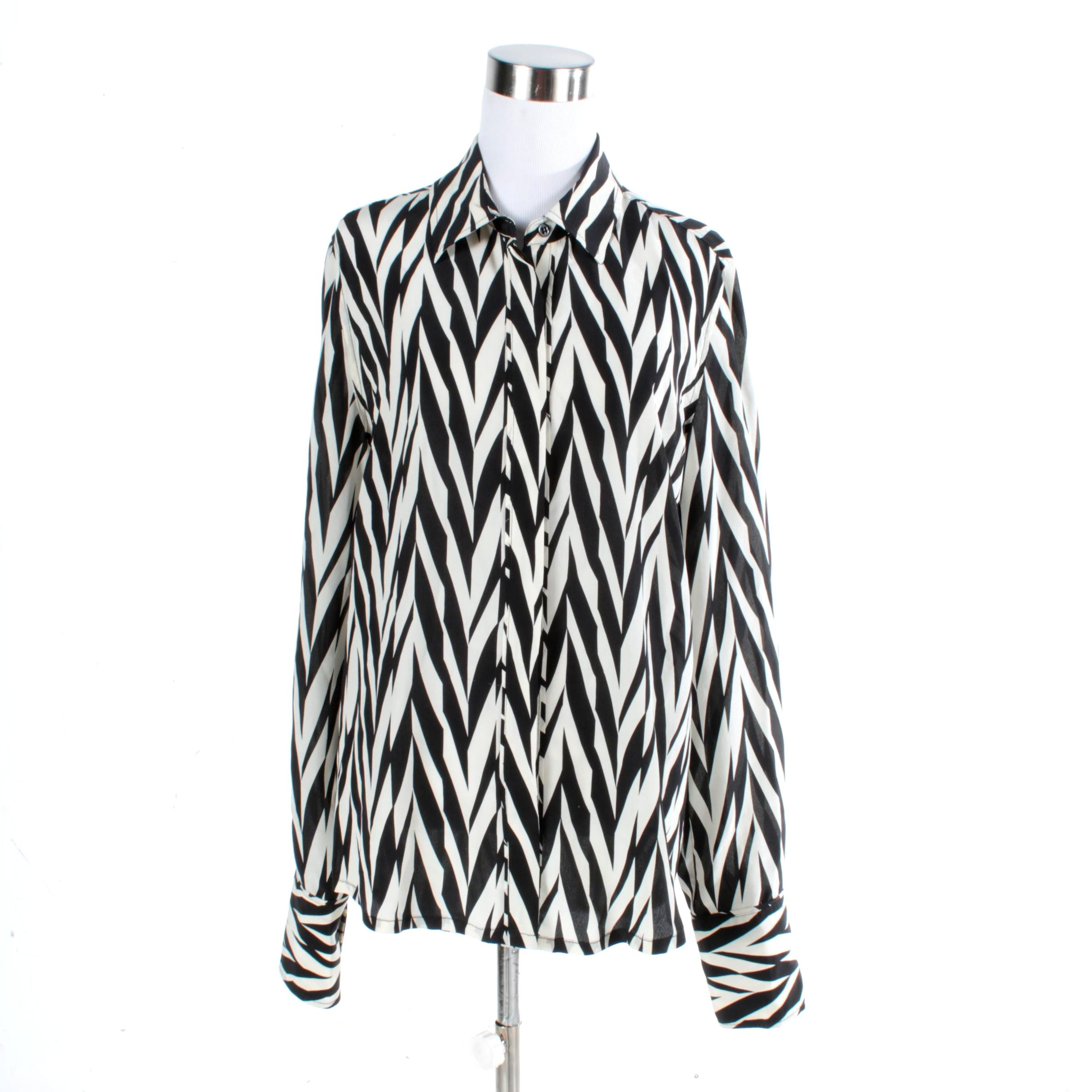 Winter Kate Black and White Silk Top