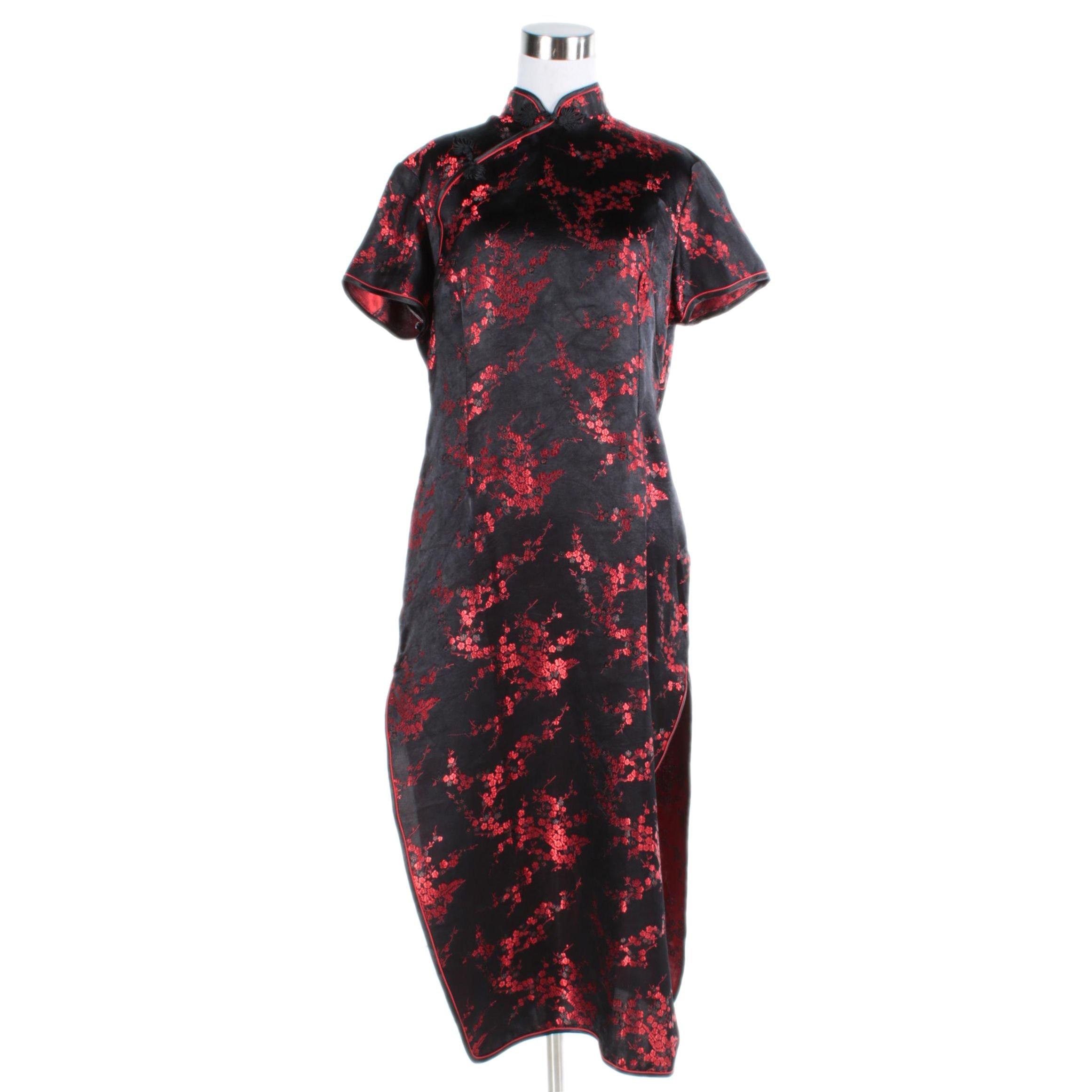 Women's Black and Red Silk Brocade Cheongsam Dress