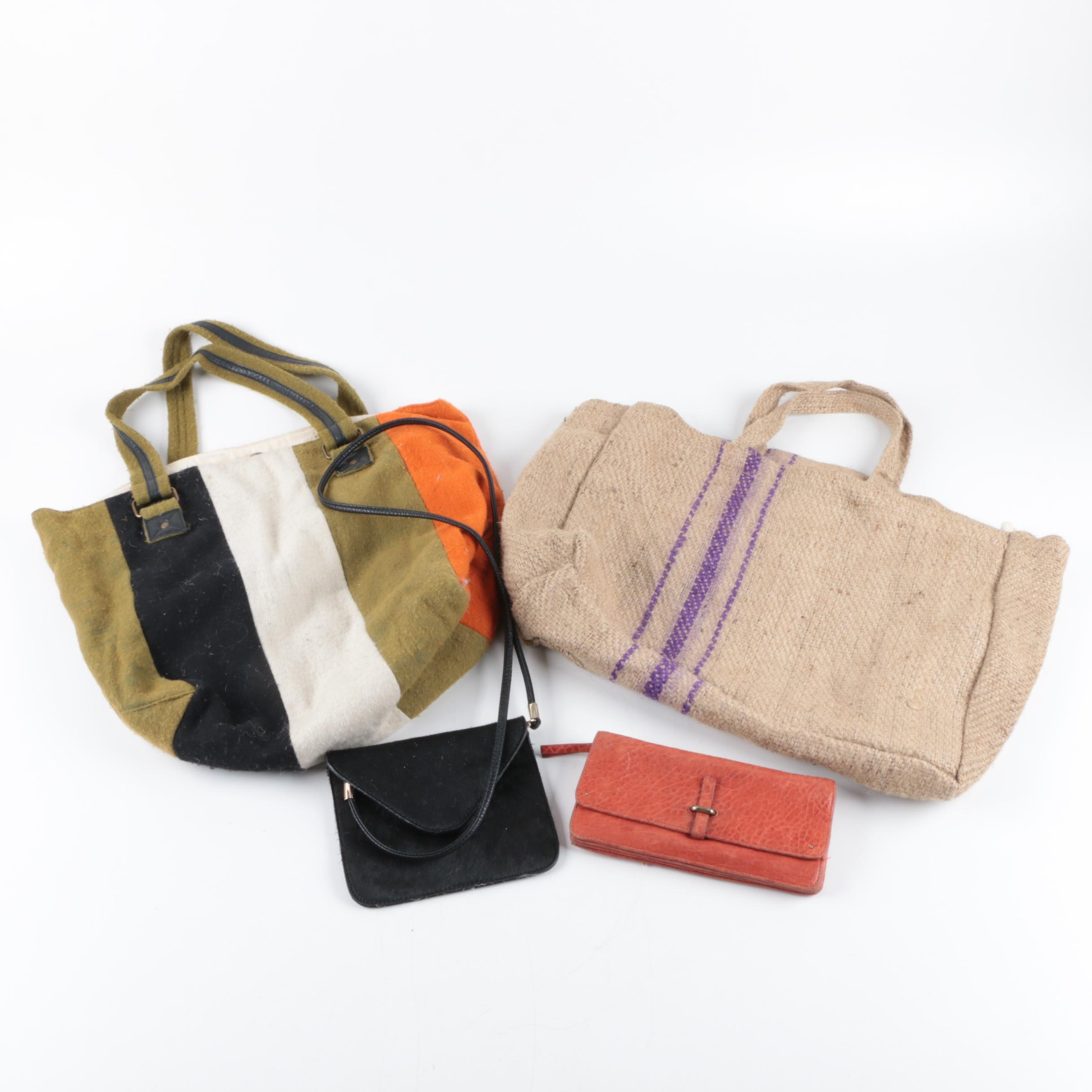 Pony Hair Mini Bag, Leather Wallet and Canvas Totes