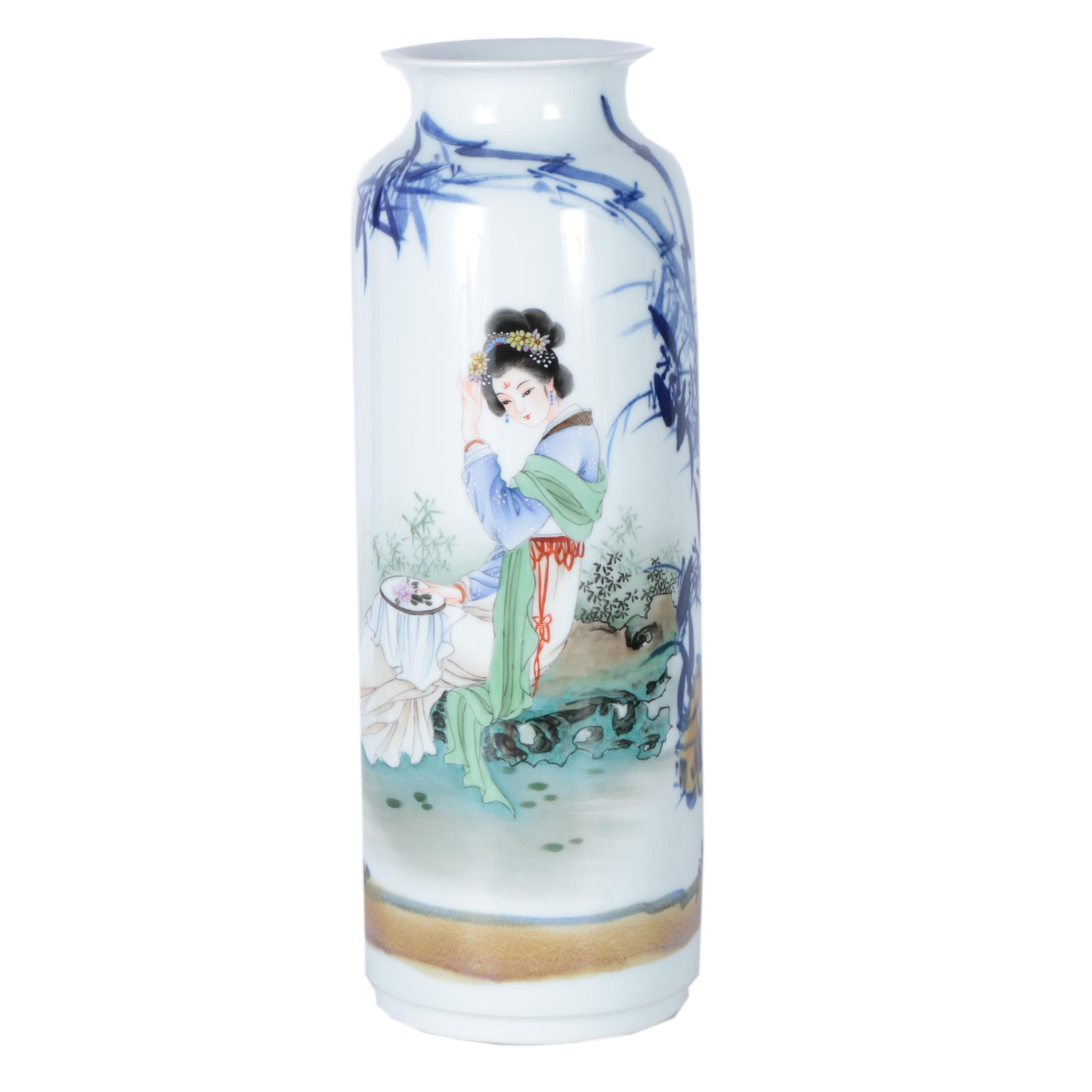 Chinese Hand Painted Sleeve Vase