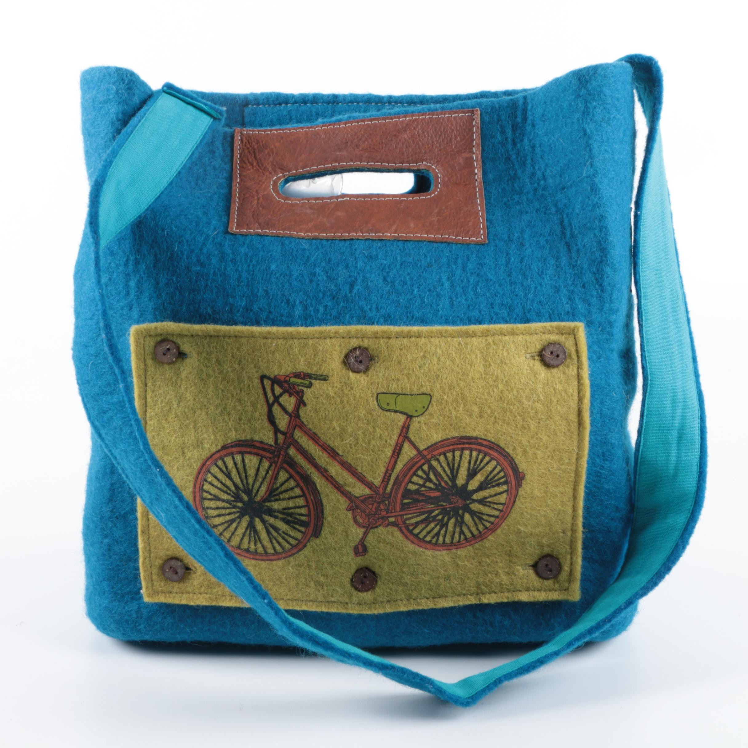 Blue Felt Tote Bag