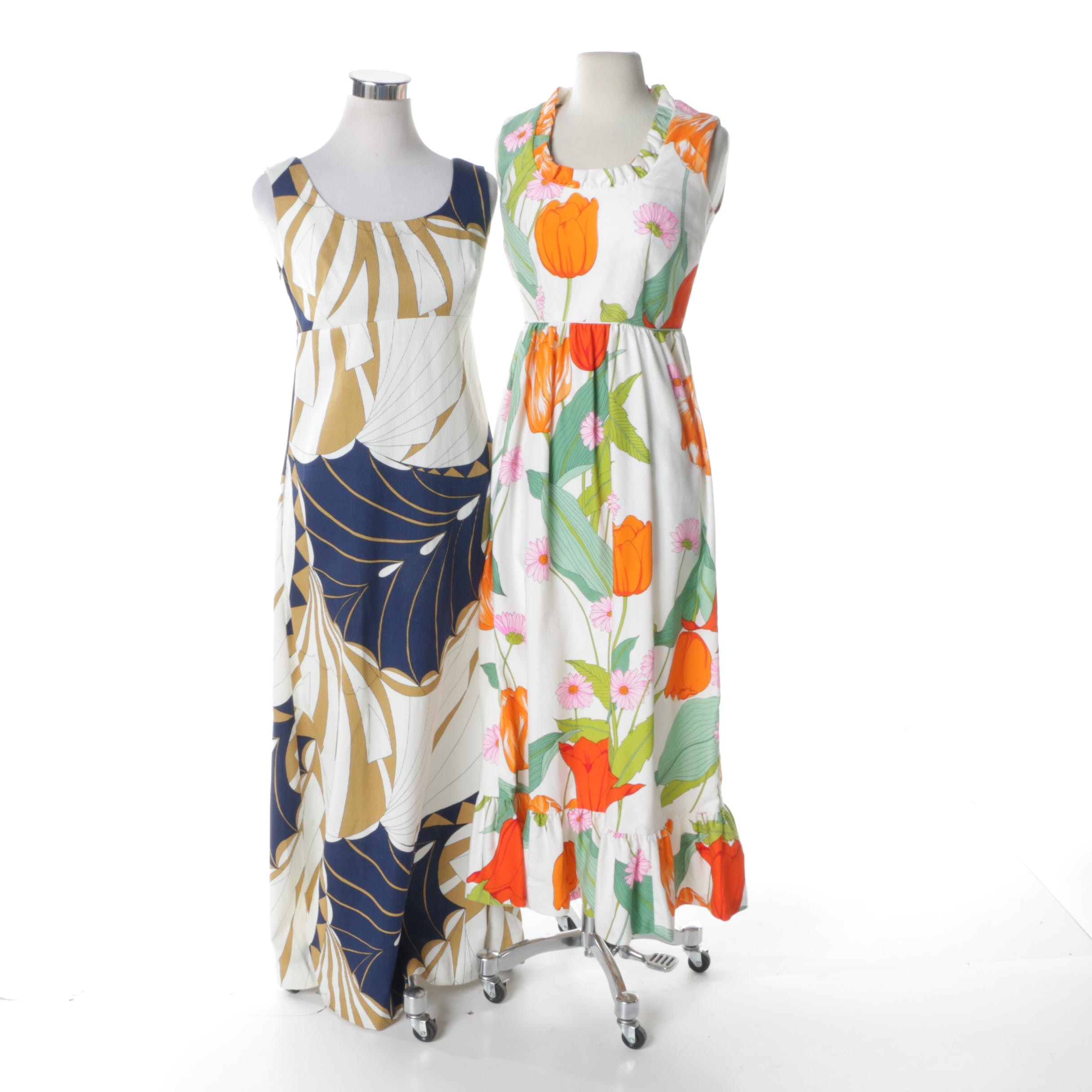 1960s Watercolor Floral Print Maxi Dresses Including Tori Richard Honolulu