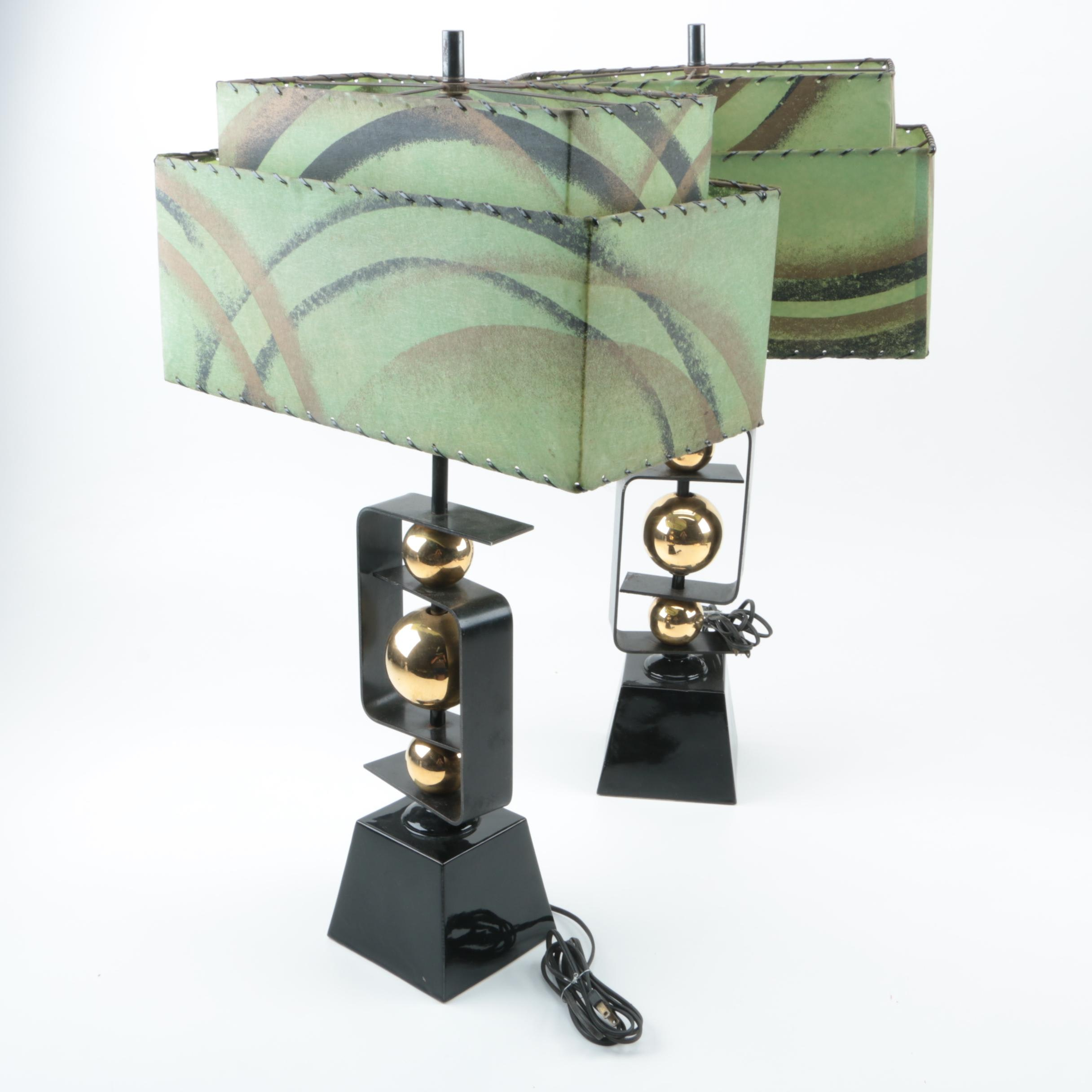 Mid Century Modern Metal and Brass Table Lamps