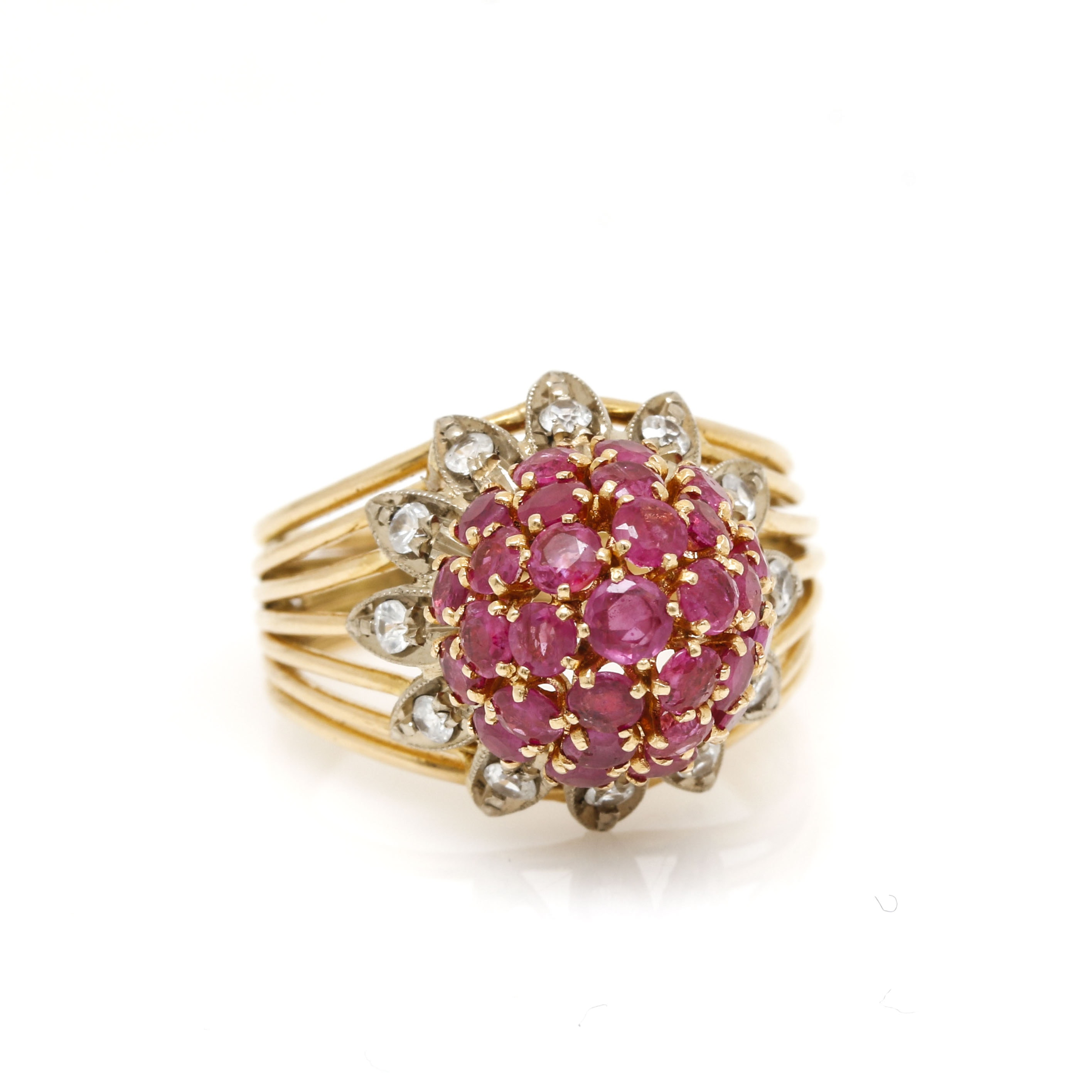 18K Yellow Gold White Topaz and Ruby Ring