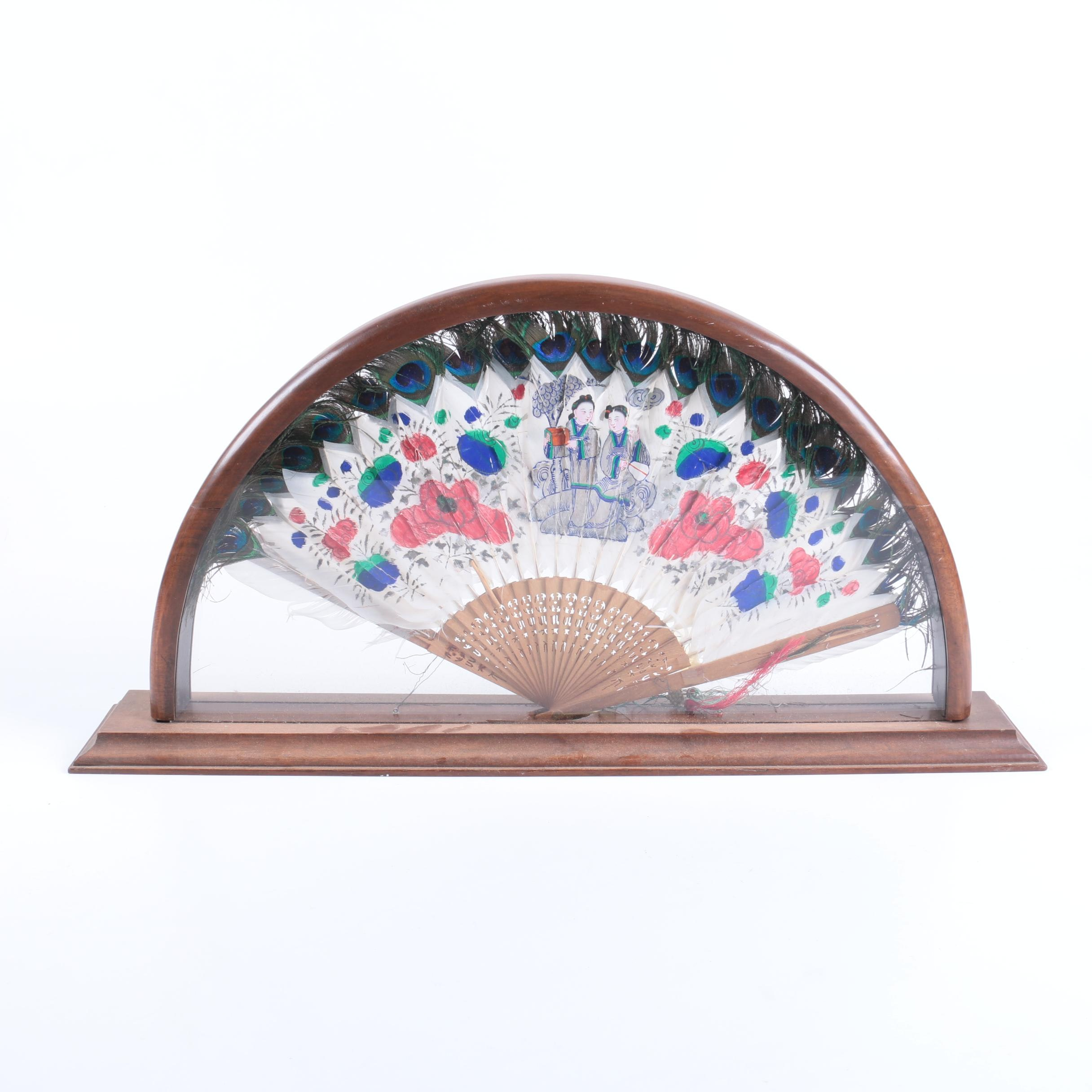 Chinese Folding Hand Fan with Peacock Feathers in Case